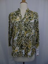 Alfred Dunner Petite Animal Print Button Down Woven Top 6P Multi Color #3360