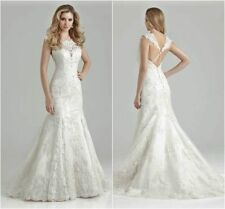 New Lace Mermaid White/Ivory Wedding Dress Bridal Ball gown Size 6 8 10 12 14 16