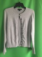 7981) ANN TAYLOR sz Small cardigan sweater cotton blend flared cuff gray solid S