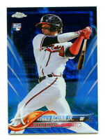 RONALD ACUNA 2018 Topps Chrome Blue Wave Refractor Ref Rookie Card RC SP 59/75