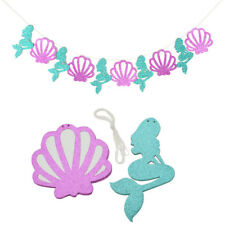 Purple Seashell Garland Decoration Blue Mermaid Flag Banner for Birthday Party