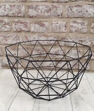 Black Geometric Wire Storage Large Basket Bowl Fruit Bread Bathroom Kitchen Tall