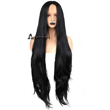 Anogol 36'' Black Lace Front Wig Long Natural Wavy Middle Part Synthetic Hair