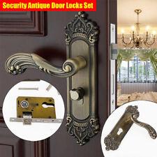Continental Antique Mechanical Locks Interior Door Handle Set Gold Entry Lever