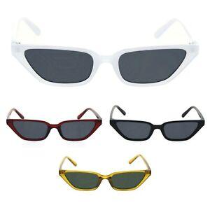 Womens Retro Narrow Squared Cat Eye Plastic Mod Sunglasses