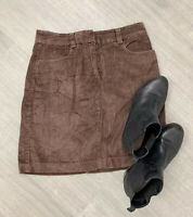 BODEN Brown Corduroy Skirt Short Size 10R Autumn Winter Casual Blogger