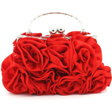 Women Rose Flower Wedding Clutch Bags Evening Party Prom Purse Bridal Handbag