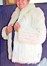 FOX FUR COAT JACKET Collar SIze 12 M White Good Vintage Condition
