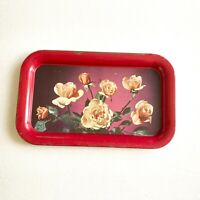 Vintage Metal Tray Floral Red Roses Cottage Decor Photo
