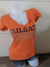 PINK by Victoria's Secret Orange Tailgate Bengals V Neck Top Size S