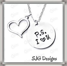 """"""" P.S.  I ❤️ YOU"""" Pendant- Silver Plated -New"""