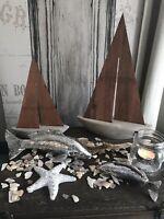 SHABBY CHIC MARITIM FISCH POLYRESIN SILBER NEU  14 cm