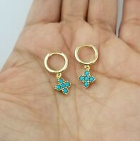 14K Yellow Gold Over Round Blue Turquoise Flower Hoop Earrings