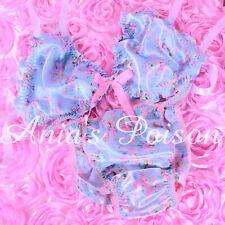 Sissy Satin mens Floral Blue Easter panties and/or Bra Top Set string bikini