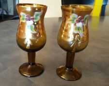 """2 Vintage Cordials Handpainted Gold Amber Floral approx 4"""" tall 1"""" diam Footed"""