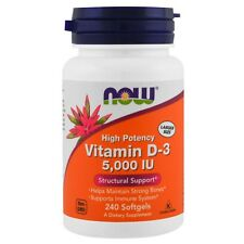 NOW Foods Vitamin D3 Highest Potency 5000 IU - 240 Softgels IMMUNE, BONE SUPPORT