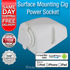 2 x Power Socket- 12 volt Power outlet for Caravan Boat 4WD Surface Mount White