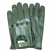 New Prime real soft leather men's driving gloves stylish look commando green 507