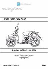Piaggio parts manual book 2001, 2002, 2003 & 2004 Scarabeo 50 Ditech