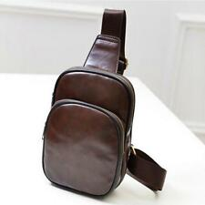 Men Leather Chest Cycle Sling Satchel Shoulder Crossbody Bag Day Pack Purse