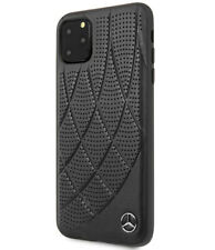 Mercedes Benz iPhone 11 Pro Max Hülle Quilted Genuine Leather Case Cover Schwarz