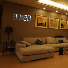 Modern Digital 3D White LED Table Wall Clock Alarm Clock 12/24 Hour Display
