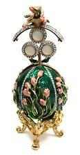 Metal Faberge Egg Box with Photo Frame Jeweled Egg Box with Photo Frame, Green