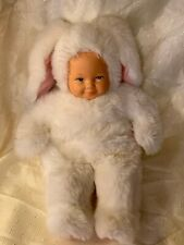 """1996 Unimax Anne Geddes 15"""" Baby Doll In White Bunny Outfit"""