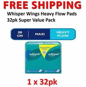 Whisper Wings Heavy Flow Pads 32pk Super Value Pack