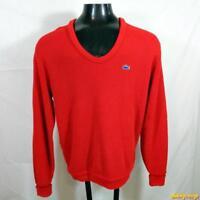 Vintage 80s IZOD LACOSTE Acrylic Crewneck Sweater JACKET Mens Size XL Red