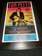 Tom Petty Full Moon Fever Rare Original Radio Promo Poster Ad Framed!
