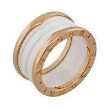 Bvlgari B.Zero1 Four Band 18 kt Rose Gold and White Ceramic Ladies Ring - Size