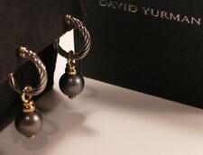 DAVID YURMAN 18K GOLD & 925 STERLING SILVER 11MM TAHITIAN PEARL CABLE EARRINGS