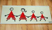 """Vintage 50s 60s Mid Century Modern Fiber Art on Linen Framed 38"""" Family Signed"""