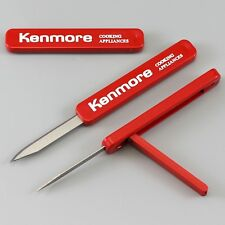 VTG RED SLIDING KNIFE LEVER PUSH SLIDE, KENMORE COOKING APPLIANCES ADVERTISING