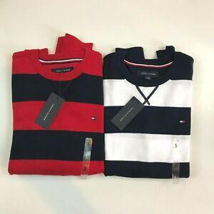 Tommy Hilfiger Premium Colorblocked Crewneck Sweater Black Grey Mens XS New