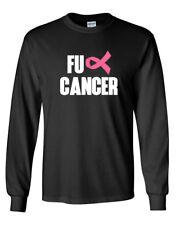 Long Sleeve Men FU CANCER #2 T Shirt Ribbon Breast Cancer Awareness T-Shirt Tee