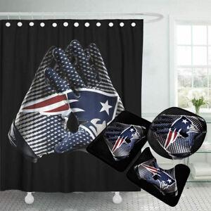 New England Patriots Bathroom Rugs 4PCS Shower Curtain Non-Slip Toilet Lid Cover