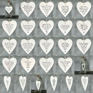 East of India White Porcelain Hanging HEART Inspirational Quotes Gift Decor