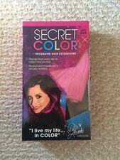 NEW NIB As Seen On Tv Secret Color Headband Hair Extensions Neon Pink+Shower Cap