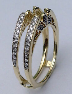 Diamond Vintage Cathedral Ring Guard Solitaire Enhancer 10k Yellow Gold