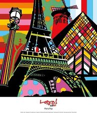 PARIS POP ART PRINT BY LOBO Eiffel Tower Louvre Museum 12x14 abstract poster