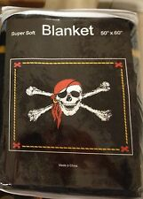 Jolly Roger Fleece Throw Blanket 50 x 60 Black Pittsburgh Nation Skull and Bones