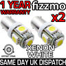 2x 5 SMD LED 433c 434 BAX9S H6W BAYONET CAP OFFSET BRIGHT WHITE SIDE LIGHT BULB