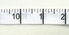 "RIBBON (per metre) WHITE Cotton Twill INCHES (5/8"" width) measuring tape print"