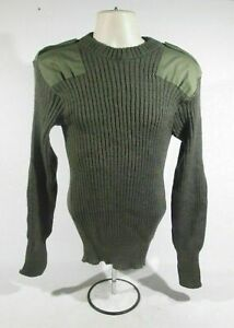 British Army Olive Green Jumper Crew Neck Ribbed Pullover Sweater Winter Warm
