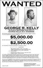 Machine Gun Kelly Store Counter Standup Sign 1933 Wanted Poster Reward FBI