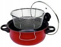 Friteuse en Acier au Carbone Casserole Avec Couvercle&Passoire 20cm Anti-adhésif