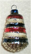 Vtg Antique Blown Glass Patriotic Christmas Ornament Red White Blue Cake Style