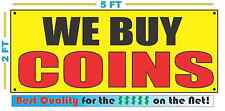WE BUY COINS Banner Sign Yellow with Red & Black